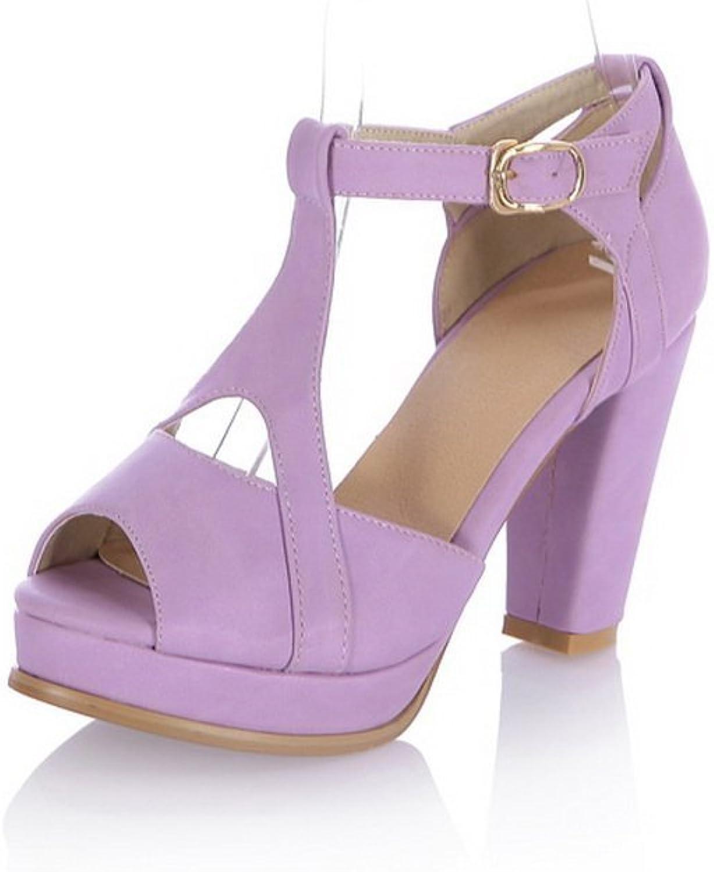 BalaMasa Womens Chunky Heels High-Heels Soft Material Sandals