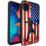 CasesOnDeck Dual Layer Case Compatible with [Samsung Galaxy A10e / A10e Case] [Embossed Duo] Dual Layer Corner Guard Case USA Flag Sports -Soccer