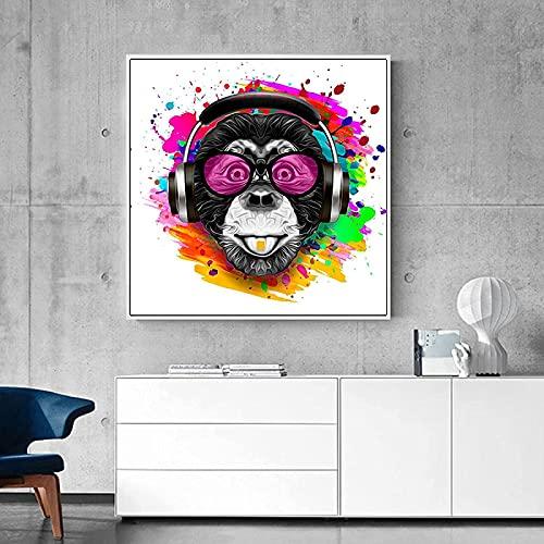 Cuadros artísticos de pared, gafas abstractas divertidas, mono, póster e impresiones de agua, Animal para sala de estar, Cuadro 50x50cm sin marco