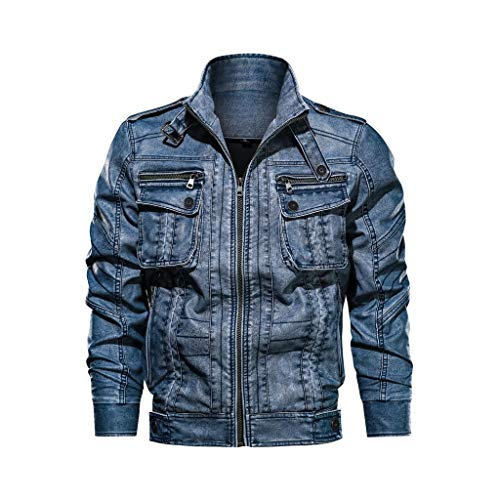 Landscap Men's Leather Motorcycle Jacket Hoodie Zipper Fashion Vintage Casual Outdoor Windbreaker Jacket Coat(Blue,XL)