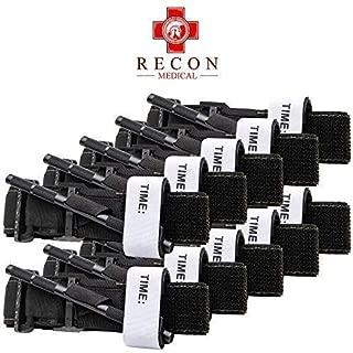 Recon Medical Tourniquet - (Black) GEN 3 Mil-Spec Kevlar Metal Windlass Aluminum First Aid Tactical Swat Medic Pre-Hospital Life Saving Hemorrhage Control Registration Card, AOS (10 Pack)