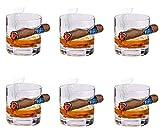 BaiJaC Cocktail-Gläser, Alkohol Flasche Dispenser Altmodisches Whiskyglas mit eingerückter Zigarrenstütze, altmodischer Whisky-Tumbler mit seitlich montierter Zigarrenhalter Whisky-Geschenkset