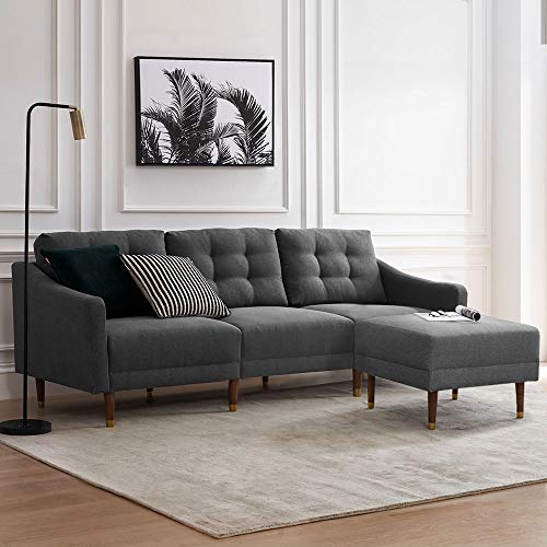 "Mopio Savannah Sectional Sofa, Fashion Sofa and Ottoman Set, Mid-Century Modern Upholstered Couch and Fabric Square Ottoman with Tapered Gold Cap Legs, 81.5""W 3 Seater Living Room Set, Dark Gray"