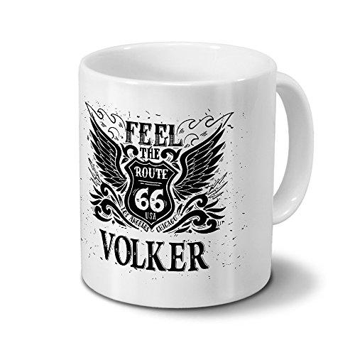 Tasse mit Namen Volker - Motiv Route 66 - Namenstasse, Kaffeebecher, Mug, Becher, Kaffeetasse - Farbe Weiß