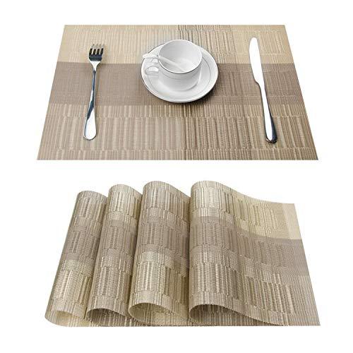 Topfinel Platzsets Abwischbar 4er Tischsets Abwaschbar Abgrifffeste Hitzebeständig Platzmatten mit Bambus-Optik für Küche mit Kontrastfarbe Golden und Braun 30x45