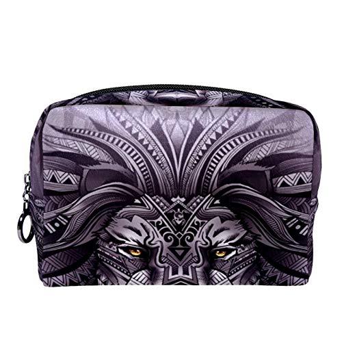 Bolsa de maquillaje cosmético con soporte para brochas de viaje, bolsa de aseo portátil, monedero con cremallera negra para mujeres y niñas, león gris