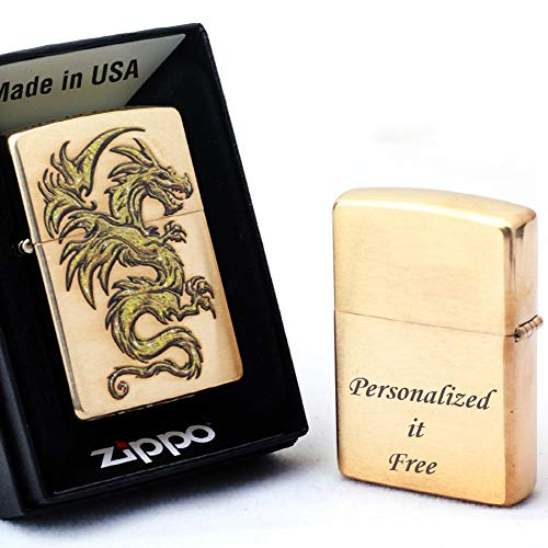 Free Engraving - Personalized Groomsmen Zippo Lighter Windproof Perfect for Boyfriend, Anniversary - Three Lines, Each 20 Characters, Free Customization (Dragon Design)