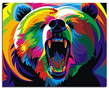 """ifymei Paint by Numbers for Kids - DIY Canvas Oil Painting Gift Kits for Boys and Girls - 16"""" x 20"""" Colorful Bear [Without Frame]"""