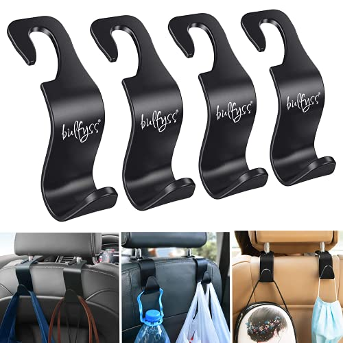 Bulfyss Car Backseat Headrest Hook/Hanger Universal Durable Organiser Space Saver for Handbag, Wallets, Grocery Bags (Black, Pack of 4).