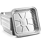 [30 Pack - 8'x8'] Propack Disposable Aluminum Foil Meal Prep Cookware Square Pans, Oven, Toaster, Grill, Cooking, Roasting, Broiling, Baking, Event, Take Out, Restaurant