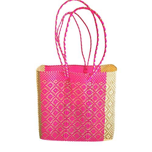 Bolso de playa - Bolso Tote - Mexican woven Tote Bag - Bolsos Mexicanos Artesanales - Bolsa de Playa Rosa y beige - Woven plastic beach bag