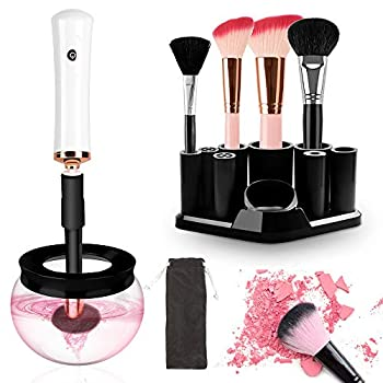 Makeup Brush Cleaner and Dryer Electric Cosmetic Brush Cleaner Machine Automatic Brush Cleaner Spinner Deep Wash and Dry fast with 8 Rubber collars for Most Cosmetic Brushes TecTake