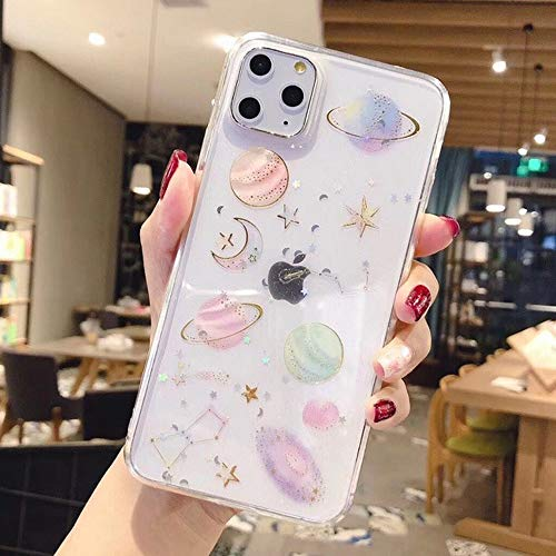 LIMITED Bling Luna Planeta Estrellas Teléfono Caso para iPhone 11 11Pro MAX XS MAX XR X 6S 6 7 8 Plus Cubierta Fundas De Dibujos Animados (Style 1,For iPhone X)