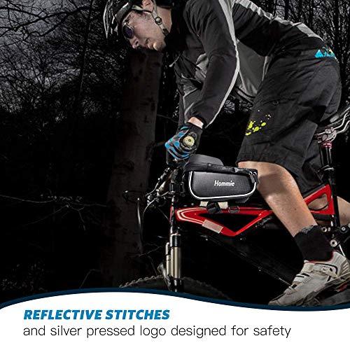 Hommie Wasserdicht Fahrradlenkertasche, Handyhalterung, Fahrrad Tasche, Handyhalter mit Kopfhörerloch, Fahrradtasche, Rahmentaschen für Handy GPS Navi und andere Edge bis zu 6 Zoll Geräte, Schwarz - 5