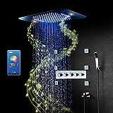 PINCHU Columna De Ducha Termostatica,RGB Música LED Sistema De Ducha,304 Acero Inoxidable Conjunto De Ducha,580X380 mm Sistema De Ducha,Cascada Modo De Lluvia,Lluvia Ducha Set