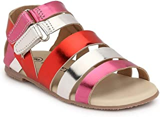 Tuskey Kid's Genuine Leather Antislip Antiskid Sports Fashion Velcro Floater Sandals for Girls in Mettalic Style