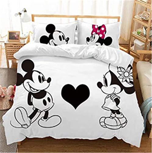 Goplnma- Mickey & Minni Bettwäsche-Disney Mickey Mouse Bettbezug,Minnie Maus-Kinder Bettwaesche-Mit Kissenbezug-3D Digitaldruck Mikrofaser -Mehrfarbig (140×210cm,11)