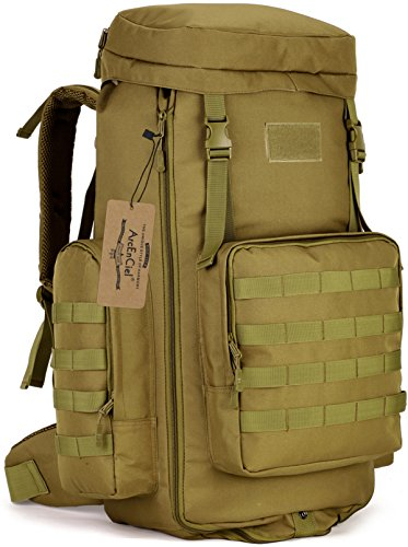ArcEnCiel Hiking Daypacks 70-85L Tactical Travel Backpack MOLLE Rucksack Large Capacity Outdoor Bag for Travelling Trekking Camping Hunting - Rain Cover Included (Coyote Brown)