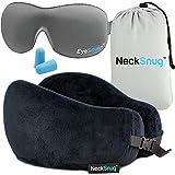 TravelSnugs Ultimate NeckSnug Sleep Kit - 100% Memory Foam Neck Pillow, 3D Contoured Sleep Mask, Moldable Ear Plugs, Compact Carry Bag