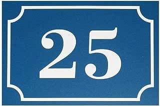 Número de casa/calle grabado y personalizado color azul números blancos–señalética exterior