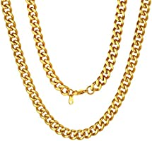 "ChainsPro 14-30"" Mens Sturdy Miami Cuban Chain Necklace, 5/7/9/12MM Width, 316L Stainless Steel/18K Gold Plated-Durable..."