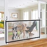 IBLUELOVER Barrera de seguridad para perro, mascota, barrera para perro, extensible portátil, barra, puerta de red plegable, puerta mágica para perro, cocina, escalera, pasillos, bebé