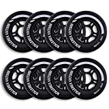Rollerex VXT500 Inline Skate/Rollerblade Wheels (8-Pack) (Various Size & Color Options Available) (Steel Black, 72mm) -Indoor Outdoor- Intended for Roller Blade Wheel Replacement