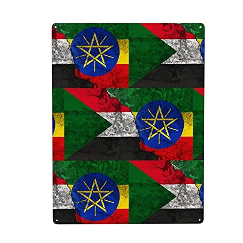 Retro Äthiopien Sudan Konflikt mit Flagge Metall Wandkunst Dekor Schild für Badezimmer Wohnzimmer Küche Outdoor Büro Zuhause Wäsche Dekoration