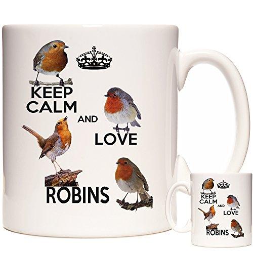 Tasse mit Rotkehlchen-Motiv, 325 ml, Keep Calm and Love Robins. Rotkehlchen-Geschenktasse