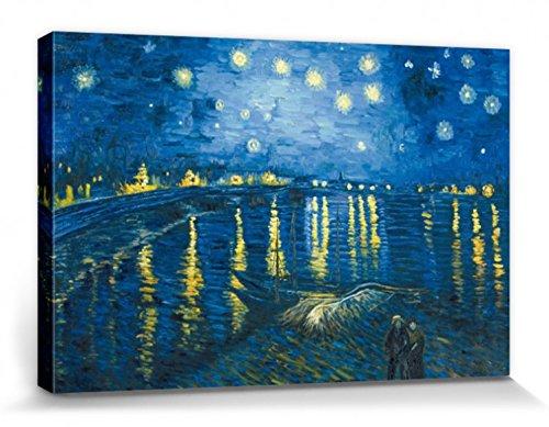 1art1 Vincent Van Gogh Poster Reproduction sur Toile, Tendue sur Châssis - La Nuit Étoilée sur Le Rhône, 1888 (120 x 80 cm)