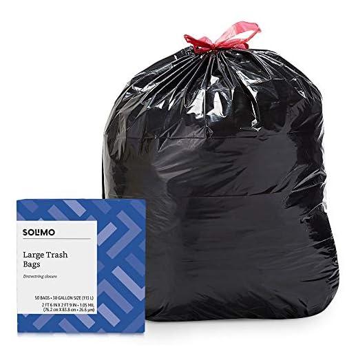 Amazon Brand - Solimo Multipurpose Drawstring Trash Bags, 30 Gallon, 50 Count & Sandwich Storage Bags, 300 Count 4