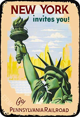 ERMUHEY Cartel retro de la estatua de la libertad, con texto en inglés 'The Funny Statue of Liberty New York', decoración de pared, estilo vintage, 30 x 20 cm