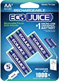 Eco Juice AA Rechargeable Batteries Micro USB Ni-MH Universal eco-Friendly 1000x Rechargeable by ECO Juice Micro-USB Rechargeable Battery 4 Pieces pre-Charged