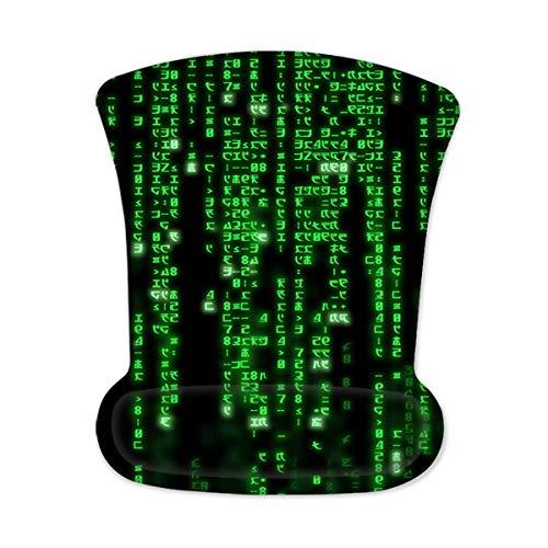 Luxburg® Alfombrilla de ratón ergonómica para Juegos con Soporte de muñeca de Espuma con Memoria para Mouse láser y óptico - Base de Goma Antideslizante - Código Matrix