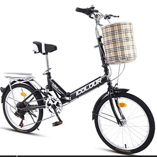 Hmvlw bicicletas de montaña Plegado variable bicicletas velocidad Hombre Mujer Estudiante de educación bici del deporte al aire libre con la cesta pequeña bicicleta portátil for Adultos Estudiantes Ad