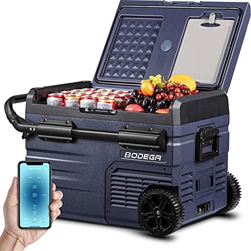 BODEGA 12 Volt Refrigerator, Car Fridge Dual Zone APP Control, Portable Freezer,37 Quart (35L) -4℉-68℉ RV Electric Compressor Cooler 12/24V DC and 100-240V AC for Outdoor, Camping, Travel,RV