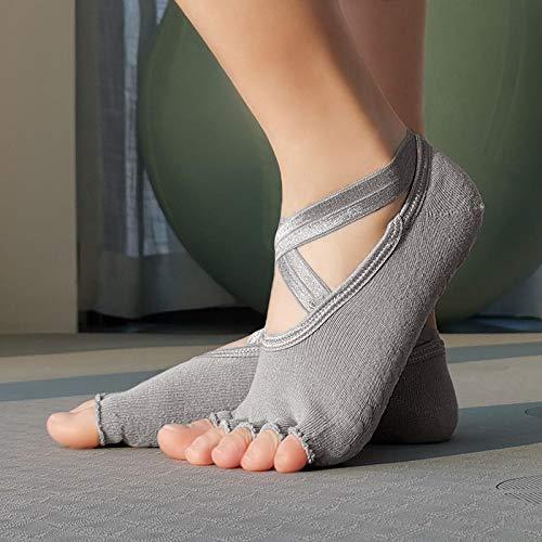 JKCTOPHOME Yoga Calcetines Pilates,Yoga elástico Transpirable de Secado rápido-Gray Exposition_Code,Calcetines Deportivos Antideslizantes