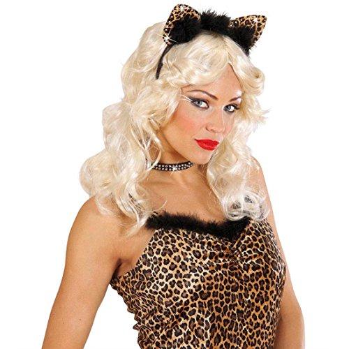 NET TOYS Leopard Ohren mit Strass Leo Haarreif mit Federn Süße Leopardenohren Lady Tierohren Panther Haarreifen Sexy Katzenohren Kostüm Accessoire Damen
