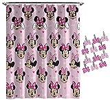 Jay Franco Disney Minnie Mouse Hearts N Love Shower Curtain & 12-Piece Hook Set & Easy Use - Kids Bath - (Official Disney Product)