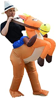 HUAYUARTS Inflatable Costume Ride on Horse Adult Cowboy Costume Funny Blow up Halloween Cosplay, Free Size