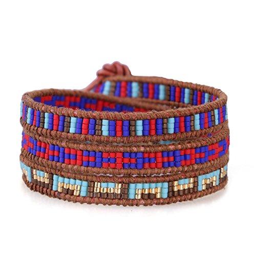 KELITCH Charme Armband Zum Frau Männer Dalmatiner Jaspis 3 Wickelt Handgefertigt Armband Gold Farbe Schädel Original Leder Armreif