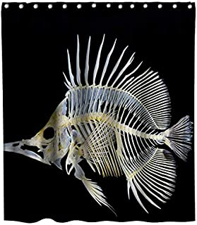 Deep-sea Fish Bone Shower Curtain Ocean Animals Theme Fabric Bathroom Decor Sets with Hooks Waterproof Washable 72 x 72 inches White and Black…