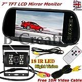b-creative 7'TFT LCD Espejo monitor Aston Martin, DB11, DB10, DB7, DB918LEDs IR copia de seguridad cámara de visión trasera