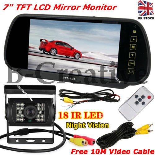 b-creative 7'TFT LCD Espejo monitor Mini 18LEDs IR copia de seguridad cámara de visión trasera