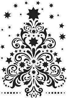 Pochoir en plastique au laser - Format A4 - Noël - Motifs d'hiver - Décoration murale créative - Fenêtres, textiles, papie...