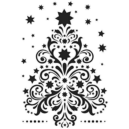 Laser-Kunststoff-Schablone, DIN A4, Weihnachten, Wintermotive | Kreative Wandgestaltung, Fenster, Textilien, Papier, Scrapbooking (Weihnachtsbaum)