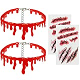 Dripping Blood Choker Necklace and Waterproof Temporary Scar Tattoos- Halloween Party Vampire Costume Masquerade Prank Makeup Props Accessory