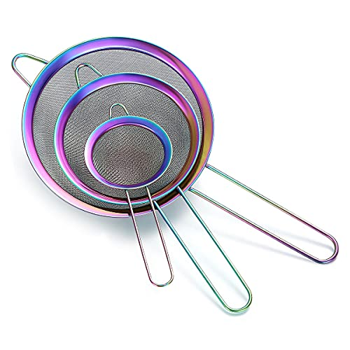 Rainbow Fine Mesh Strainer 3 Pieces Set, Colorful Flour Sifter For Baking, Stainless Steel Clander, Mutil-Color Matcha Tea Strainer, Gravy Separator, Stasher Sieve Pasta Strainers
