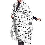 Tengyuntong Bufanda de mantón Mujer Chales para, Doodle Line Dogs And Bears Cómoda bufanda tipo chal bufanda de invierno de cachemir para mujeres y hombres