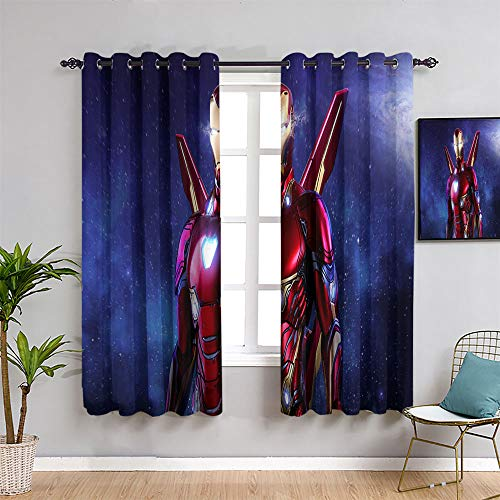 Blackout Curtains Avengers Infinity War superhero Black iron Man Grommet Window Curtains for child bedroom W55 x L39